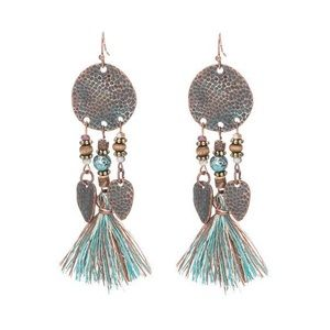 Jewelry - Pebbled Disc Tassel Earrings